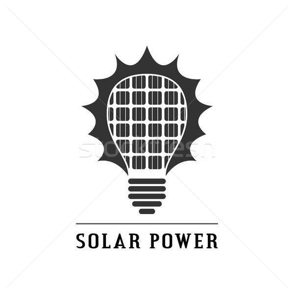 Güneş enerjisi ikon resim siyah beyaz ampul güneş panelleri Stok fotoğraf © shai_halud