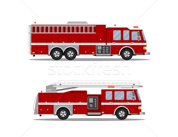 Zdjęcie wóz strażacki dwa ognia ciężarówki odizolowany Zdjęcia stock © shai_halud
