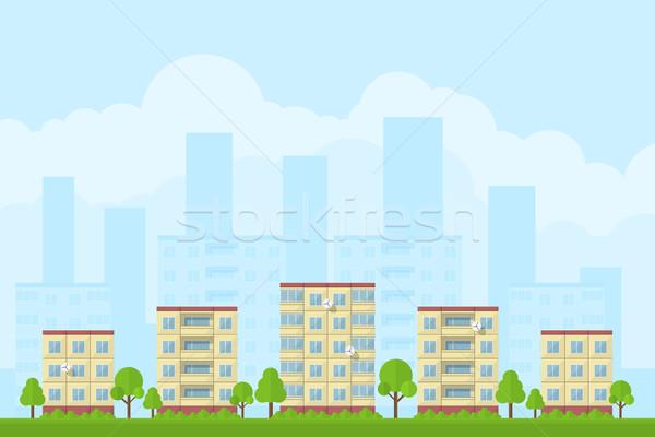 şehir manzara resim panel evler stil Stok fotoğraf © shai_halud