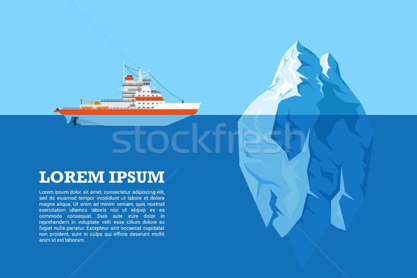 Сток-фото: айсберг · судно · фотография · дизельный · стиль · иллюстрация
