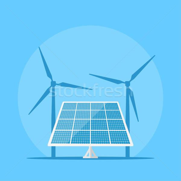 アイコン 画像 風力タービン シルエット 太陽 ストックフォト © shai_halud
