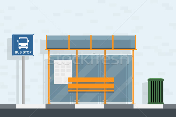 Przystanek autobusowy podpisania kosz na śmieci stylu ilustracja ściany Zdjęcia stock © shai_halud