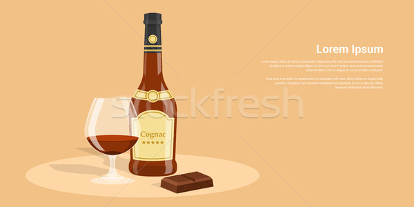 Cognac chocolat photos bouteille verre style Photo stock © shai_halud