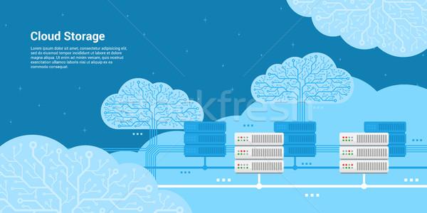 Nube stoccaggio stile banner server internet Foto d'archivio © shai_halud