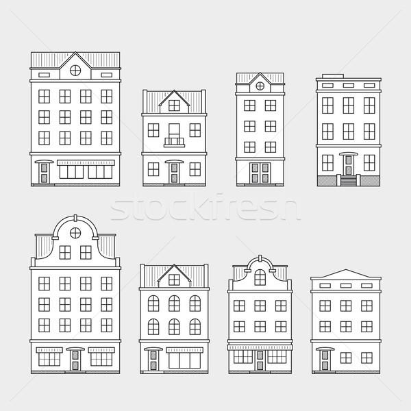 Stockfoto: Ingesteld · huizen · huis · iconen · geïsoleerd · grijs