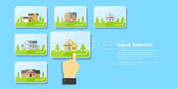 дома фотография человеческая рука стекла числа домах Сток-фото © shai_halud