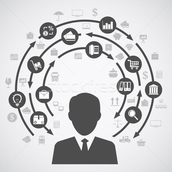 üzlet folyamat diagram kép emberi sziluett Stock fotó © shai_halud
