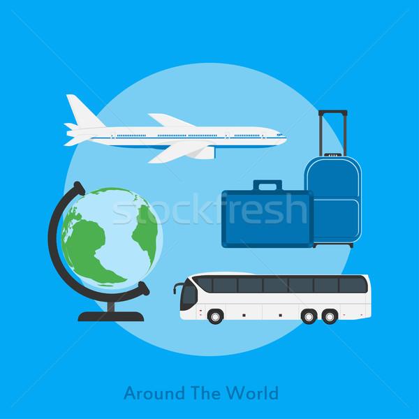 Etrafında dünya resim otobüs düzlem dünya Stok fotoğraf © shai_halud