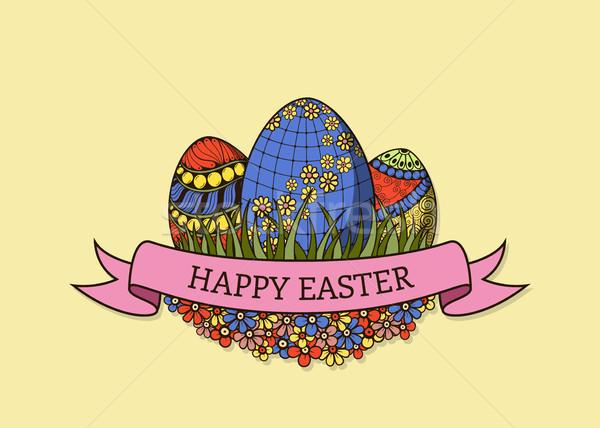 Kellemes húsvétot üdvözlőlap kézzel rajzolt húsvéti tojások szín terv Stock fotó © shai_halud