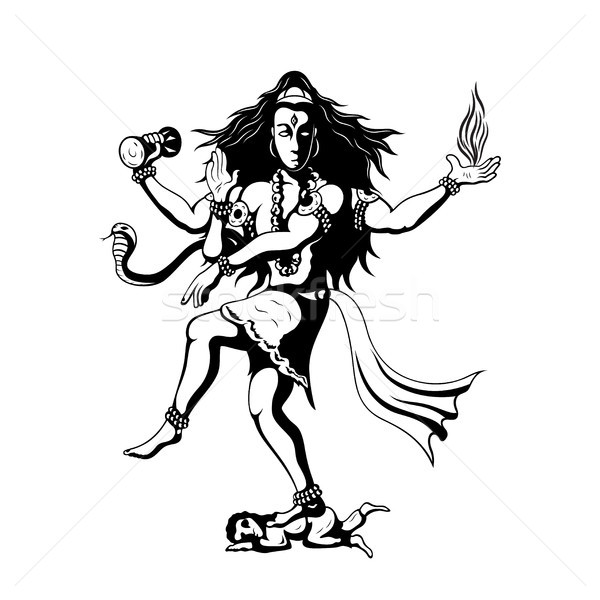 Dansen god shiva zwart wit illustratie indian Stockfoto © shai_halud