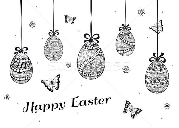 イースター カード 卵 いたずら書き 装飾的な ストックフォト © shai_halud