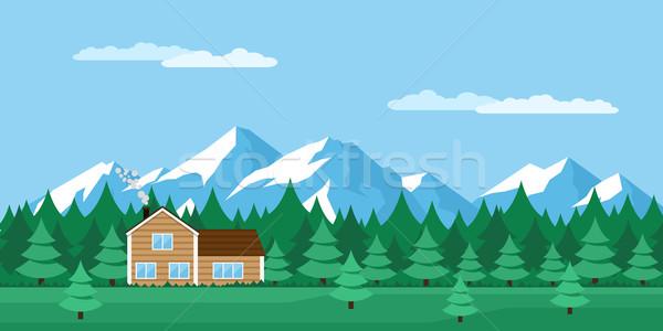 ストックフォト: 家 · 森林 · 画像 · 木製 · 山 · スタイル