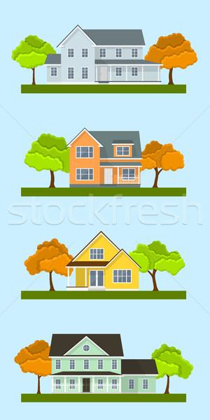 Foto stock: Casa · de · campo · casas · conjunto · detalhado · colorido · estilo
