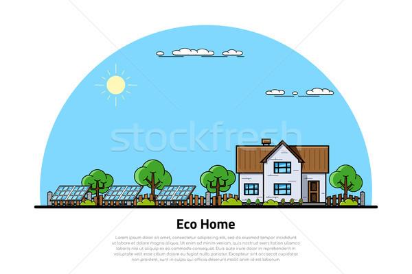 エコ ホーム バナー 緑 住宅の 家 ストックフォト © shai_halud