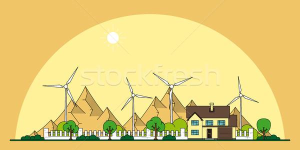 öko otthon szalag kép ház szélturbinák Stock fotó © shai_halud