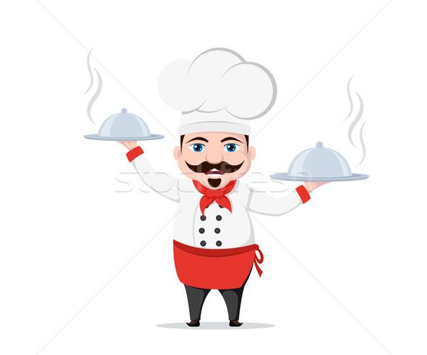 Grappig chef karakter twee heerlijk gerechten Stockfoto © shai_halud
