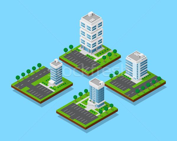 изометрический офисных зданий набор деревья небоскреба квартиру Сток-фото © shai_halud