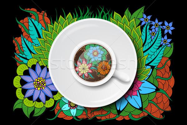 tea cup with doodle design Stock photo © shai_halud