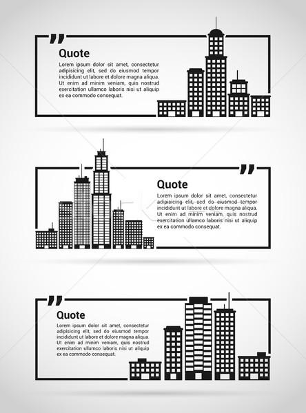 набор кавычки цитировать большой город Сток-фото © shai_halud