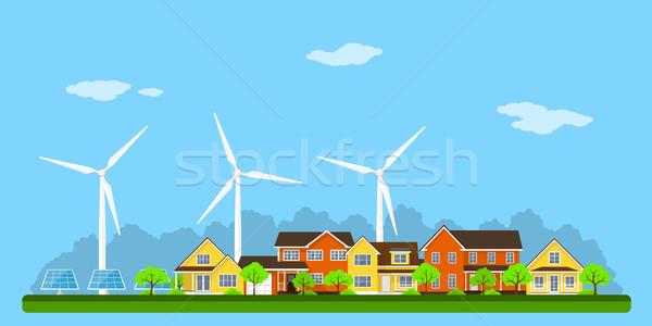 Eco şehir afiş yeşil evler panel Stok fotoğraf © shai_halud