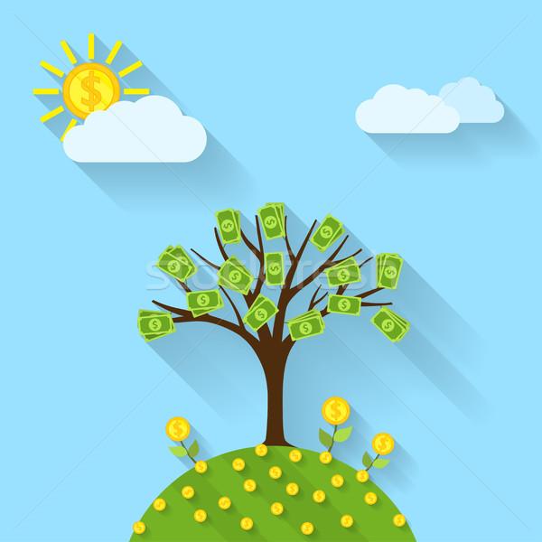 ストックフォト: 金のなる木 · 画像 · 漫画 · 風景 · 太陽 · 花