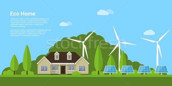 öko otthon kép ház napelemek szélturbinák Stock fotó © shai_halud