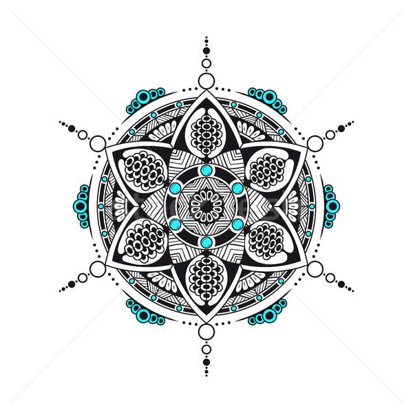 Feketefehér mandala szín elemek kisebbségi dekoratív Stock fotó © shai_halud