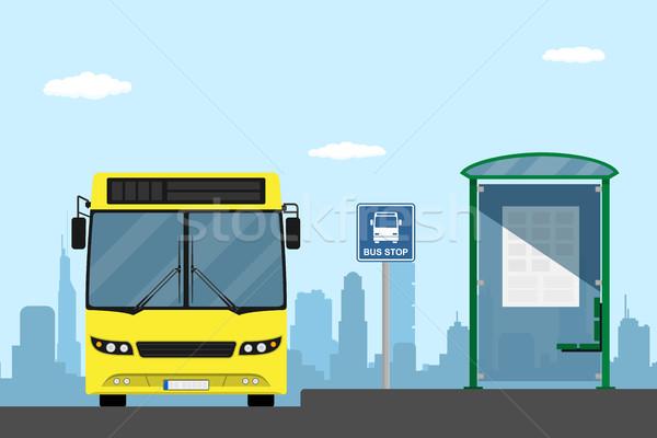 Otobüs durağı resim sarı şehir otobüs stil Stok fotoğraf © shai_halud