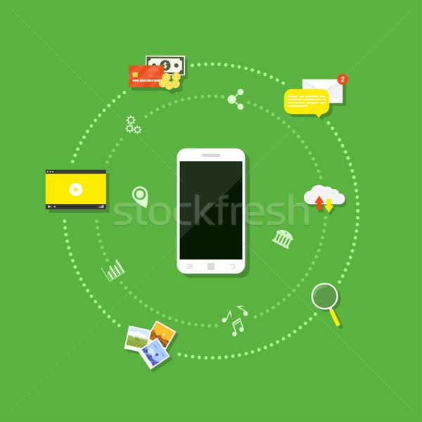 ストックフォト: 携帯 · インターネット · 画像 · 携帯電話 · アイコン