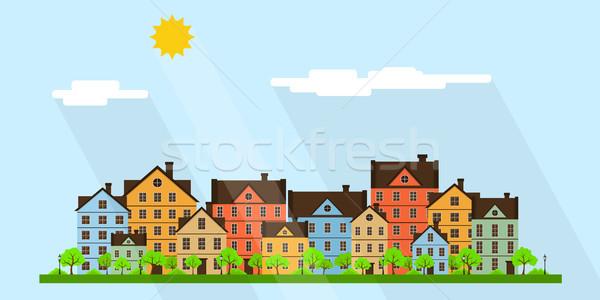 Kisváros utca modern színes házak stilizált Stock fotó © shai_halud