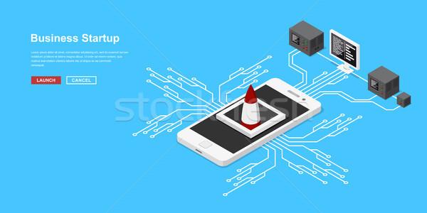 Photo stock: Isométrique · démarrage · mobiles · demande · nouvelle
