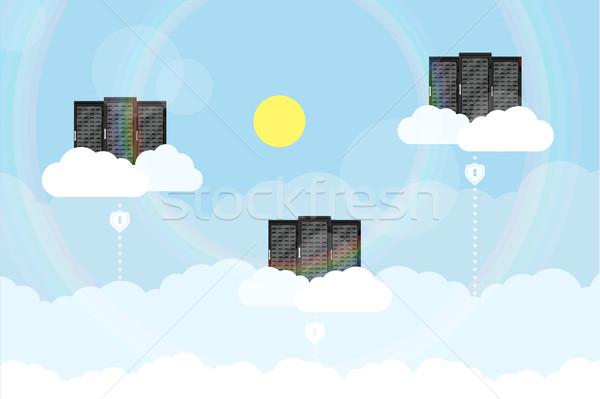 Chmura serwera zdjęcie serwerów chmury linie Zdjęcia stock © shai_halud