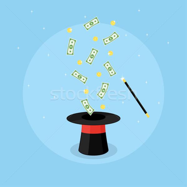 магия Hat деньги фотография Flying монетами Сток-фото © shai_halud