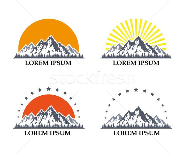 mountain icons set Stock photo © shai_halud