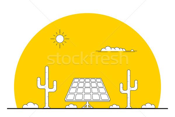 ストックフォト: 太陽エネルギー · バナー · 画像 · ソーラーパネル · 砂漠 · 風景
