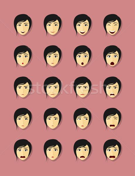 emotional faces set Stock photo © shai_halud