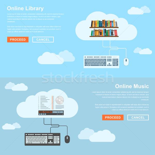 онлайн услугами стиль Баннеры набор библиотека Сток-фото © shai_halud