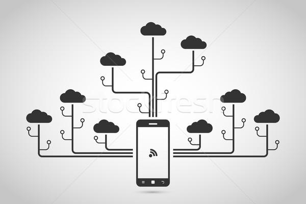 фотография мобильного телефона облака сеть Сток-фото © shai_halud
