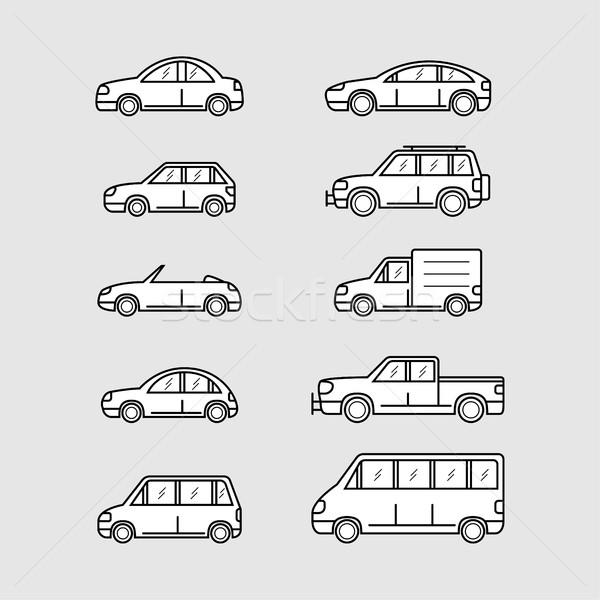 набор автомобилей автомобилей иконки тонкий линия Сток-фото © shai_halud