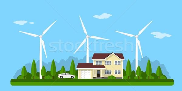 Eco ev resim ev güneş panelleri Stok fotoğraf © shai_halud