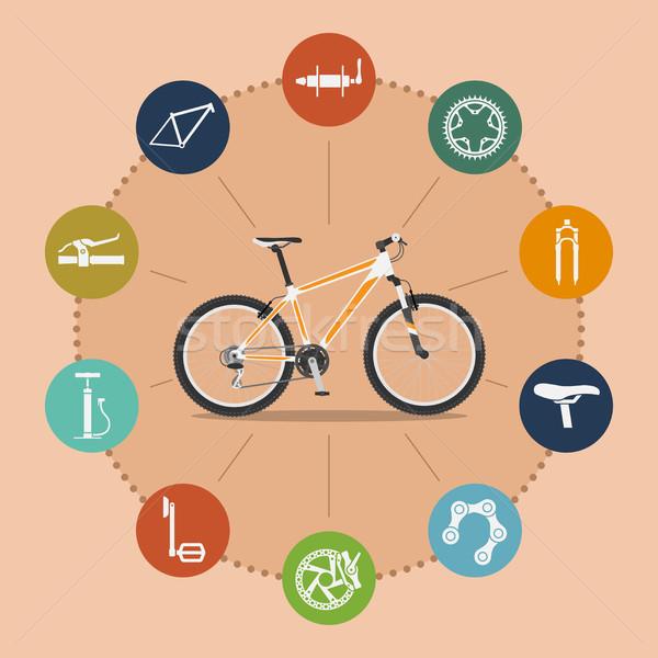 Bike infografica modello mountain bike icone stile Foto d'archivio © shai_halud