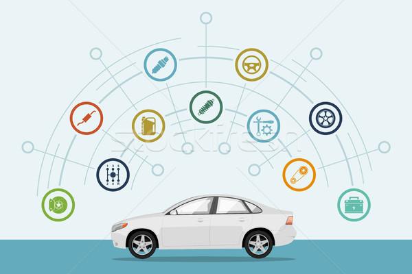 Autó infografika sablon alkatrészek ikonok szolgáltatás Stock fotó © shai_halud