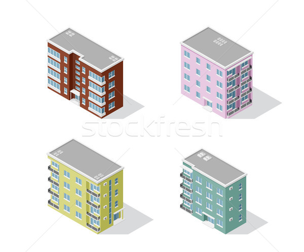 set of apartment buildings Stock photo © shai_halud