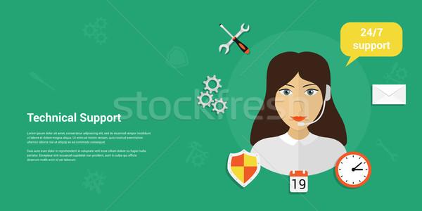 Technische ondersteuning banner foto vrouw hoofdtelefoon Stockfoto © shai_halud