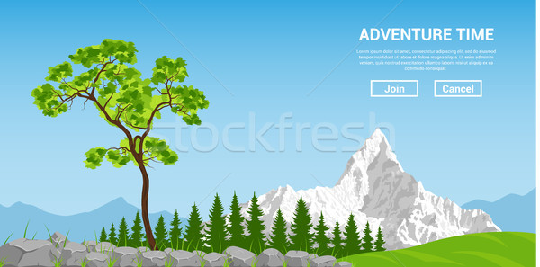 Landscape with tree and mountain Stock photo © shai_halud