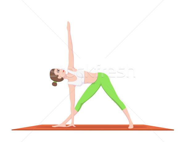 женщину йога фотография молодые соответствовать практика Сток-фото © shai_halud