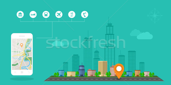 gps navigation banner Stock photo © shai_halud