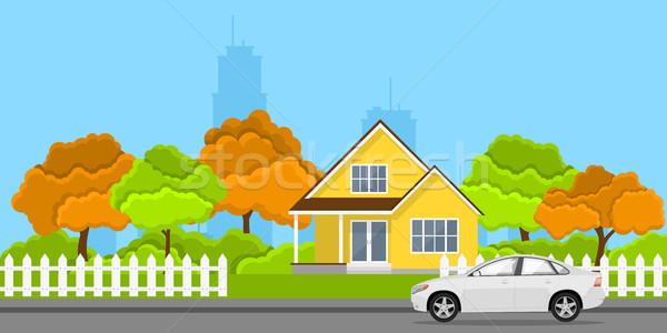 Ev araba resim stil afiş aile Stok fotoğraf © shai_halud