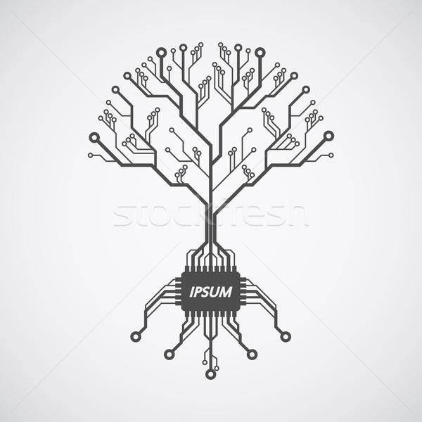 Baskılı devre ağaç resim devre kartı model kökleri Stok fotoğraf © shai_halud