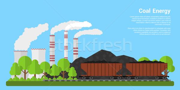 Charbon énergie bannière photos collines centrale Photo stock © shai_halud
